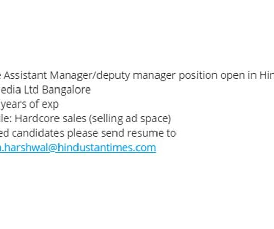 Assistant Manager in Hindustan Times